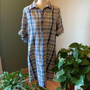 NWOT Plaid Cotton Shirt Dress